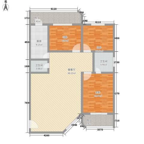 长城三宏公寓3室1厅2卫1厨194.00㎡户型图