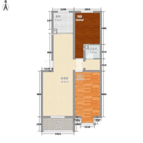 城南春晓2室0厅1卫1厨87.00㎡户型图