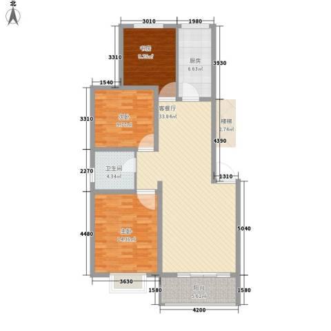 南国明珠3室1厅1卫1厨119.00㎡户型图