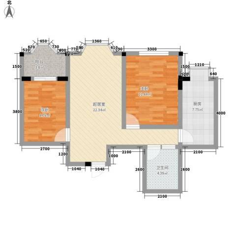金玉华庭2室0厅1卫1厨86.00㎡户型图