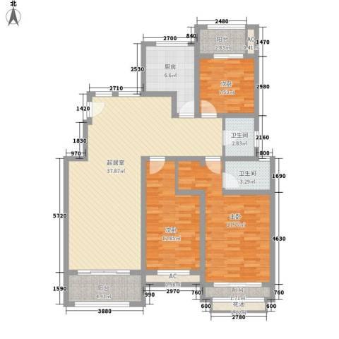 天瑞绿洲3室0厅2卫1厨146.00㎡户型图