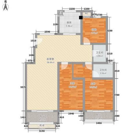 天瑞绿洲3室0厅2卫1厨134.00㎡户型图