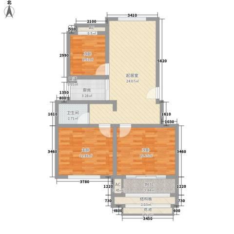 天瑞绿洲3室0厅1卫1厨101.00㎡户型图