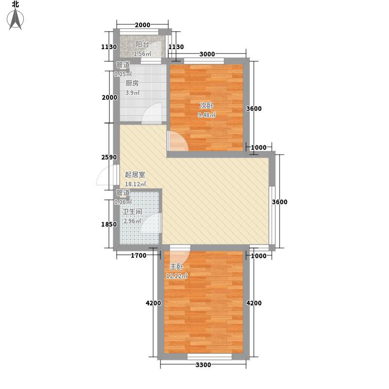 假日名居77.83㎡假日名居户型图C1户型图2室2厅1卫户型2室2厅1卫