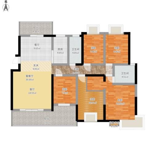 鑫远湘府华城5室1厅2卫1厨177.00㎡户型图