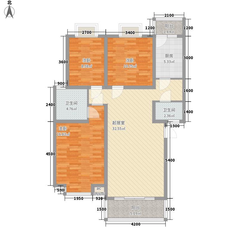 滨河花园108.63㎡A2户型3室2厅2卫1厨