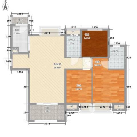 中海・寰宇天下3室0厅2卫1厨89.00㎡户型图