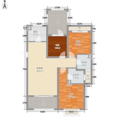 富立・秦皇半岛3室0厅2卫1厨125.00㎡户型图