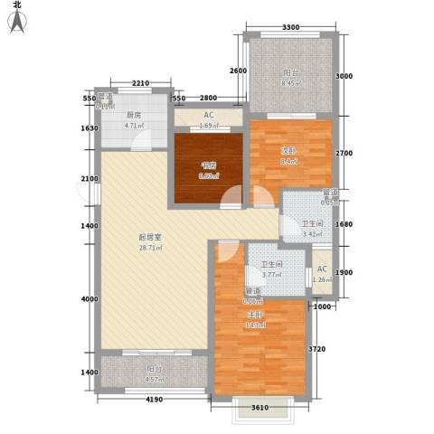 富立・秦皇半岛3室0厅2卫1厨122.00㎡户型图