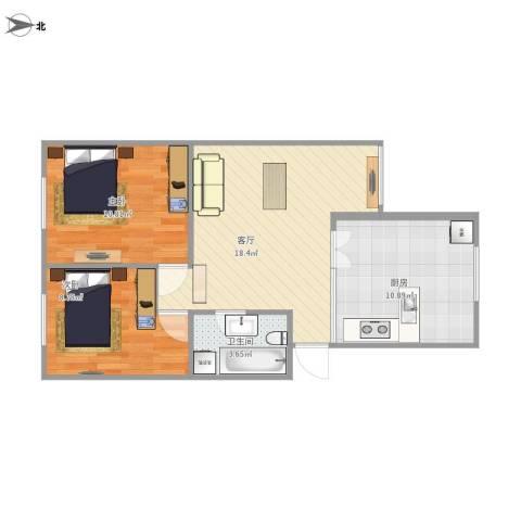 地矿小区2室1厅1卫1厨71.00㎡户型图