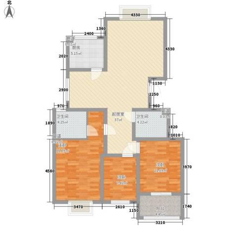 银都花园3室0厅2卫1厨132.00㎡户型图