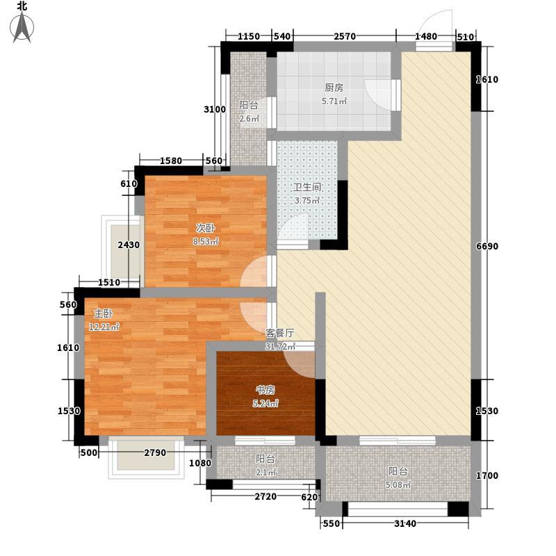 翰林世家11.41㎡7#A2户型3室2厅1卫1厨