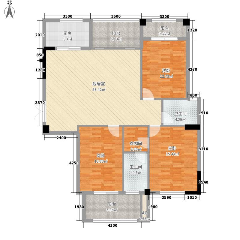 中庚紫金香山户型图12#04单元 3室2厅2卫1厨