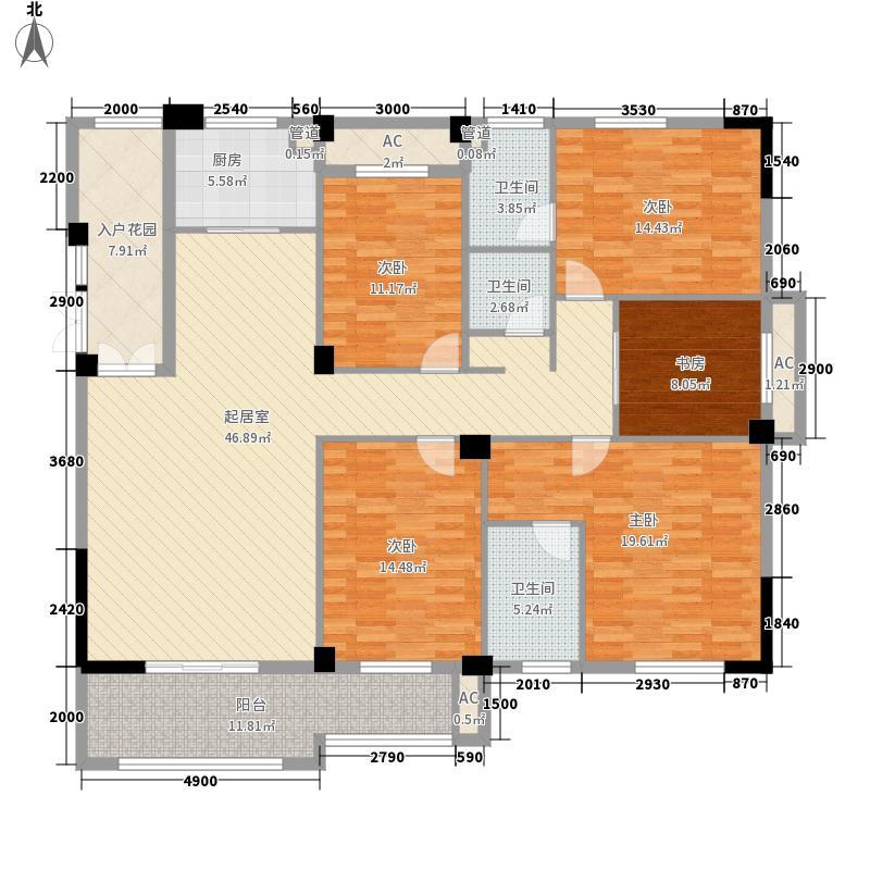 中庚紫金香山户型图12#02单元 5室2厅3卫1厨