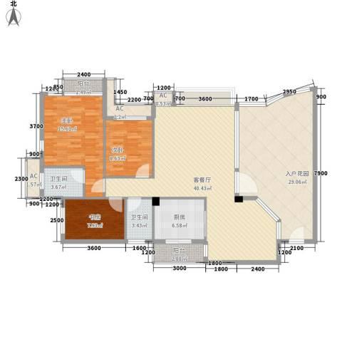 富盈御墅莲峰3室1厅2卫1厨128.00㎡户型图