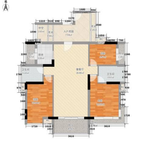 富盈御墅莲峰3室1厅2卫1厨126.00㎡户型图