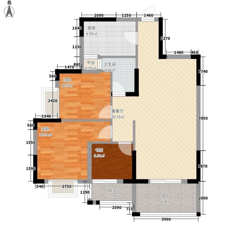 翰林世家15.00㎡8#楼A2户型3室2厅1卫1厨