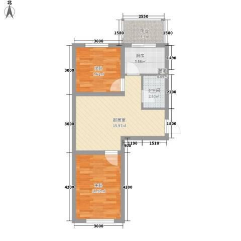 花溪林语2室0厅1卫1厨62.00㎡户型图