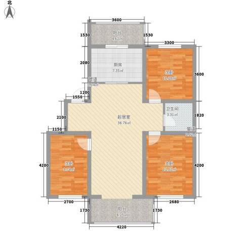 花溪林语3室0厅1卫1厨109.00㎡户型图