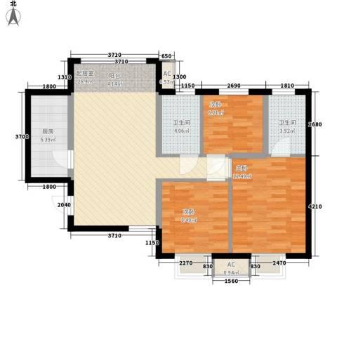 宸欣家园3室0厅2卫1厨68.43㎡户型图