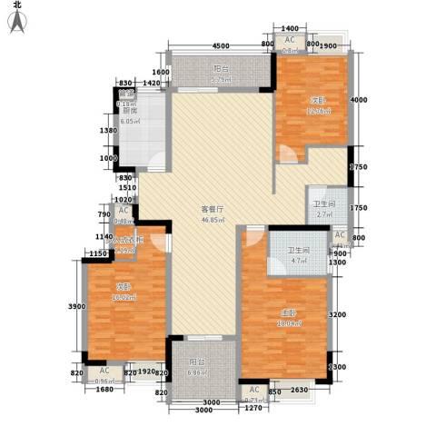 秦淮绿洲别墅3室1厅2卫1厨147.00㎡户型图