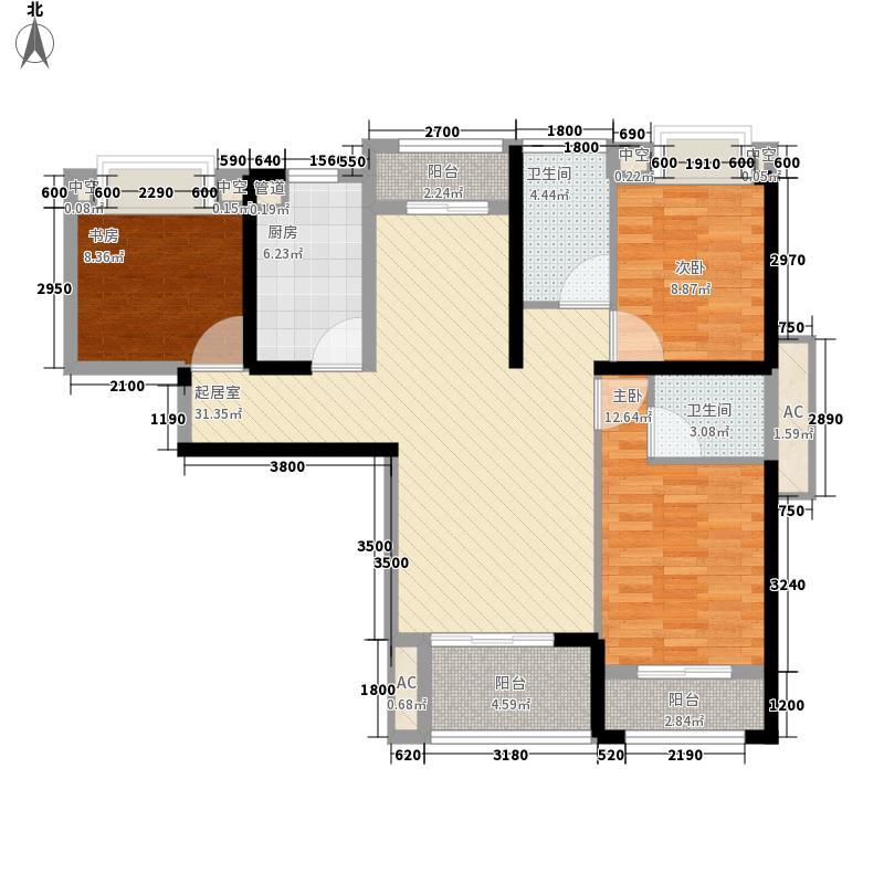 一品江山123.00㎡6#-C-1-02户型3室2厅2卫1厨