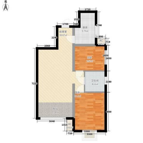 宸欣家园2室0厅1卫1厨83.00㎡户型图