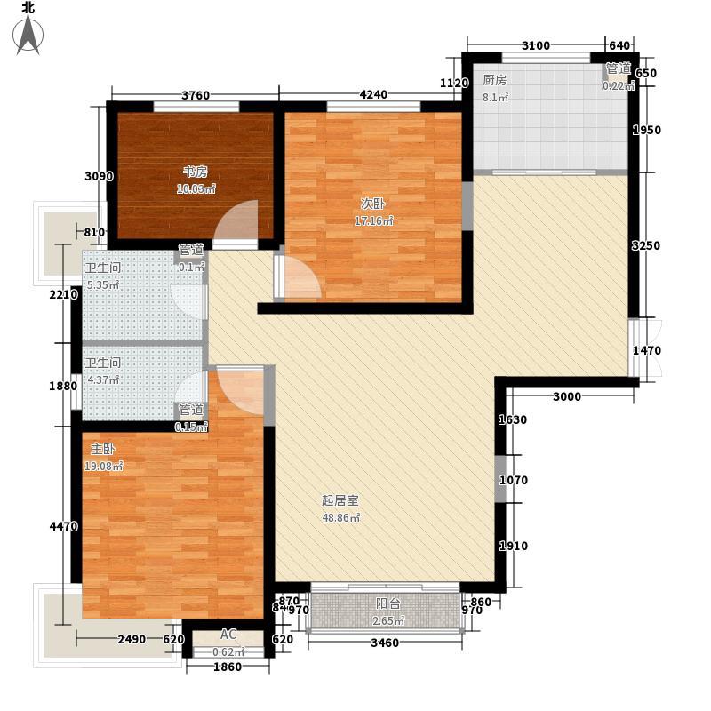 良志·嘉年华二期133.76㎡B1a(右)户型3室2厅2卫1厨