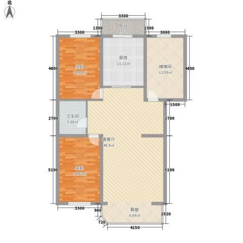 盛天家苑2室1厅1卫1厨170.00㎡户型图