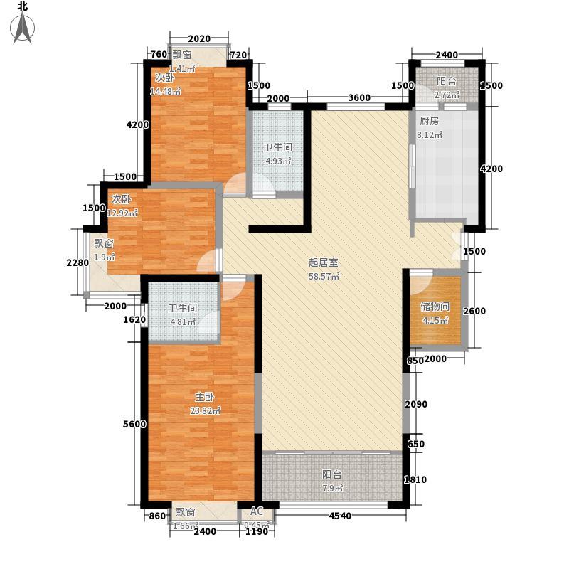 时代广场三室两厅两卫1户型3室2厅2卫1厨