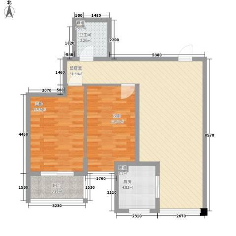 鑫源名居2室0厅1卫1厨101.00㎡户型图