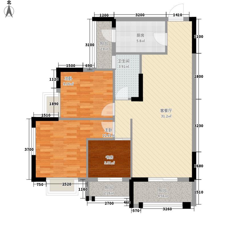 翰林世家12.78㎡3#5#6#C2户型3室2厅1卫1厨