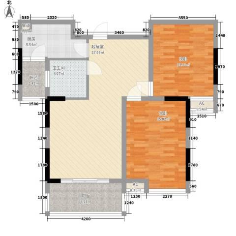 春江花月2室0厅1卫1厨75.01㎡户型图