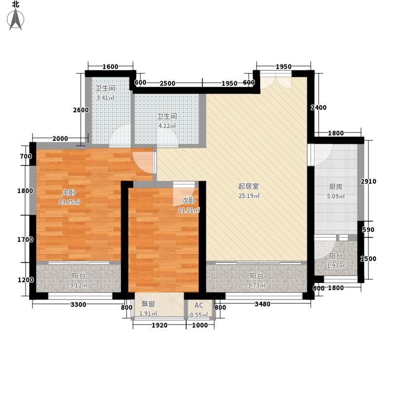 时代广场两室两厅两卫户型2室2厅2卫1厨