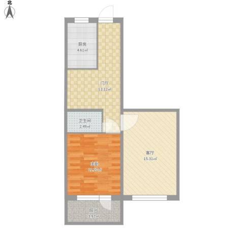 新源西里中街1室1厅1卫1厨70.00㎡户型图