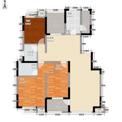鸿景花园3室0厅2卫1厨136.00㎡户型图
