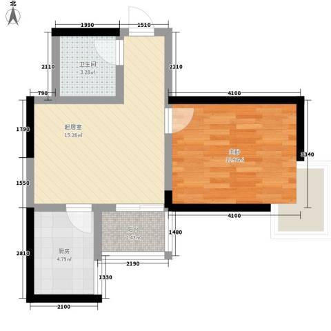 锦里1室0厅1卫1厨52.00㎡户型图