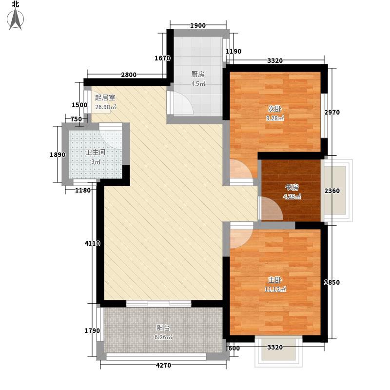 锦里户型图D户型 3室2厅1卫1厨