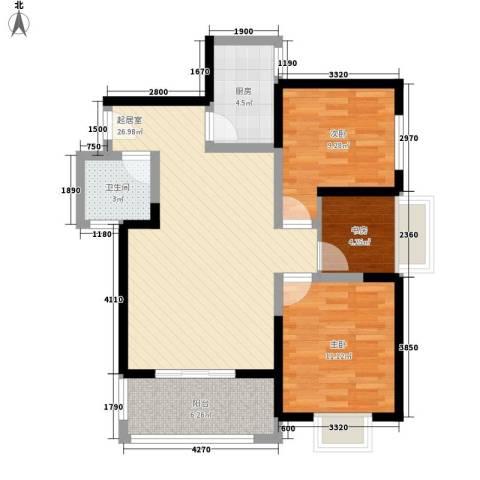 锦里3室0厅1卫1厨95.00㎡户型图