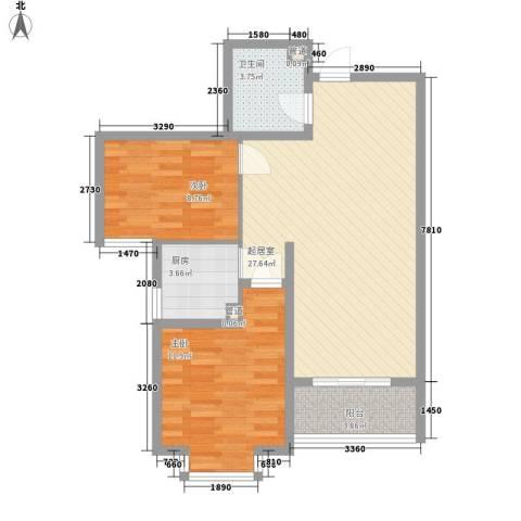 城南春晓2室0厅1卫1厨86.00㎡户型图