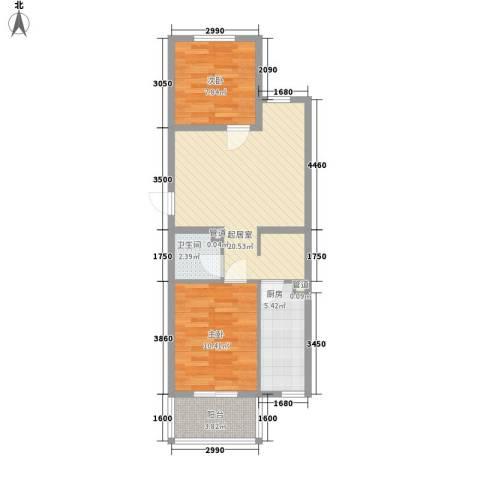 城南春晓2室0厅1卫1厨73.00㎡户型图