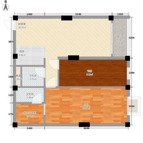 叠美居2室0厅2卫0厨74.00㎡户型图