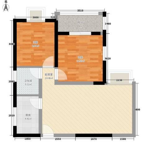 锦里2室0厅1卫1厨78.00㎡户型图