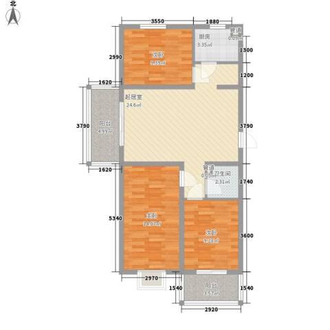 城南春晓3室0厅1卫1厨103.00㎡户型图