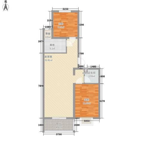 城南春晓2室0厅1卫1厨82.00㎡户型图