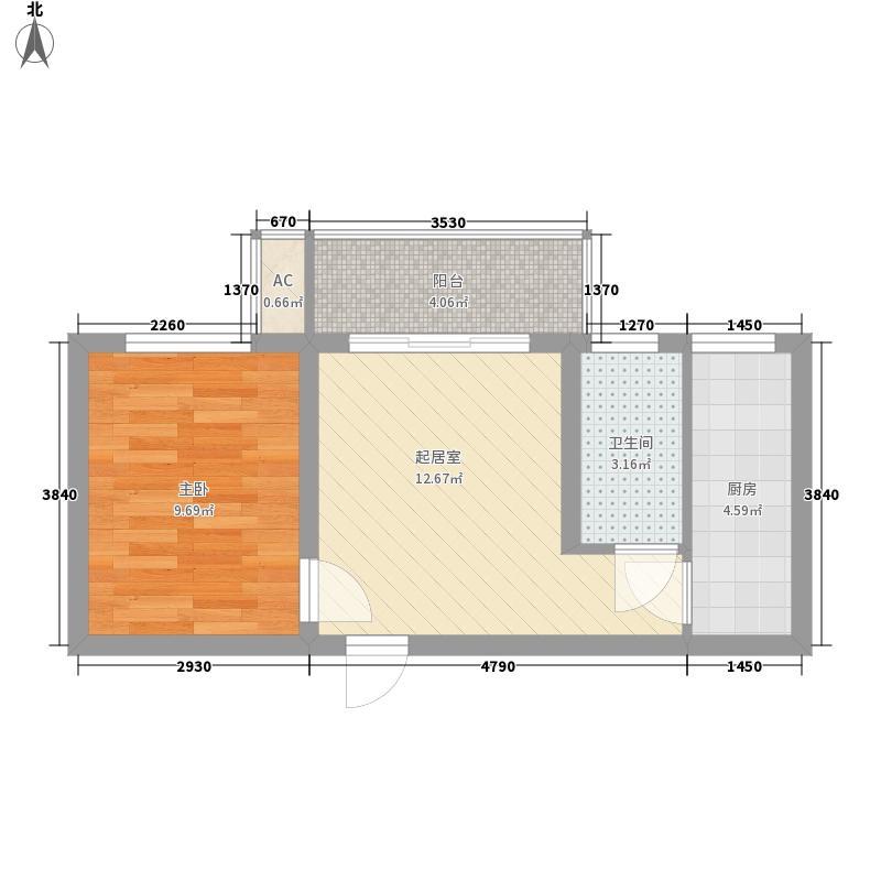申泰新世纪广场52.61㎡二期L户型1室1厅1卫1厨