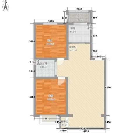 吴中印象2室1厅1卫1厨95.00㎡户型图