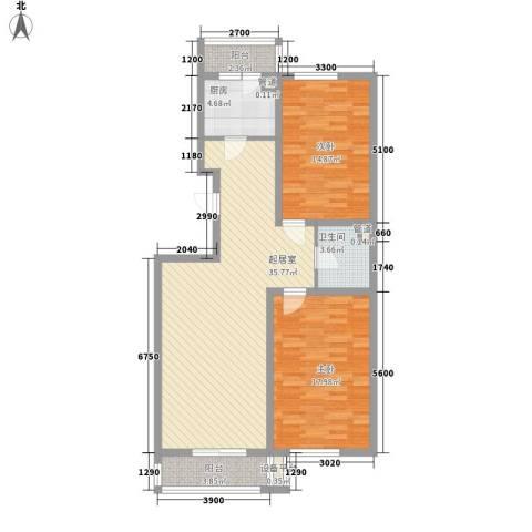 红田美林居2室0厅1卫1厨120.00㎡户型图