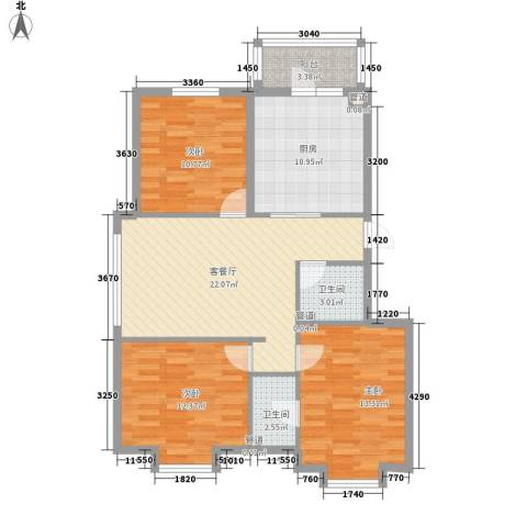 萧红书香苑3室1厅2卫1厨110.00㎡户型图