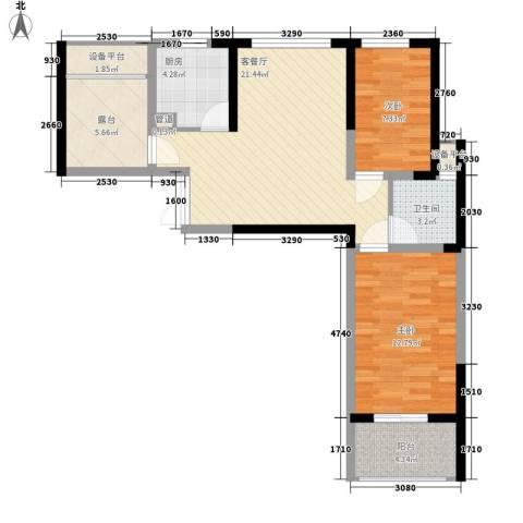 国耀花半里2室1厅1卫1厨90.00㎡户型图
